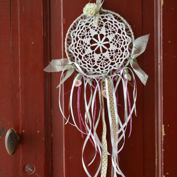 A vintage lace doily dream catcher in Pink, Green and White shades --- A vintage elegant touch or an special present