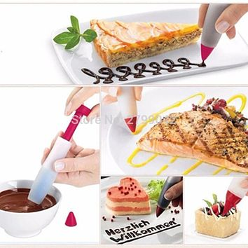 Silicone Food Writing Pen Chocolate Decorating tools Cake Mold Cream cup,cookie Icing Piping Pastry Nozzles kitchen accessories