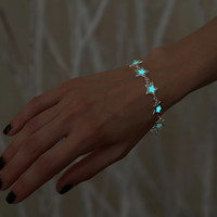 Glow in the Dark Bracelet - Glowing Stars - Glow Bracelet - Glow Jewelry - Silver Star - Cosmos Bracelet - Space Bracelet - Galaxy Bracelet