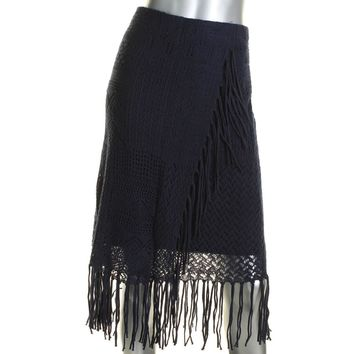 Lauren Ralph Lauren Womens Linen Blend Fringe Straight Skirt