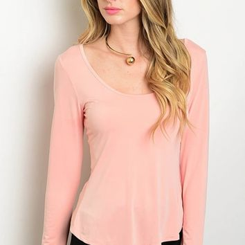 Long Sleeve Corset Lace Up Back Fitted Salmon Top (17-107)