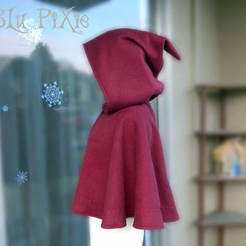 Women's Fleece Caplet, Red Riding Hood Hooded Cape, Hand Stitching Hooded Cloak