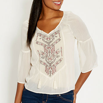 chiffon top with ethnic embroidery