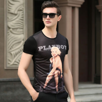 Summer Men Short Sleeve 3D Print Cotton Korean Slim Men's Fashion T-shirts [6544646979]