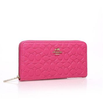ICIK6HW Coach' Women Purse Fashion Simple Classic Embossed Long Section Zip Wallet Handbag
