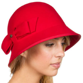 Sakkas 1561LC May Vintage Style Wool Cloche Bell Hat - Red - One Size