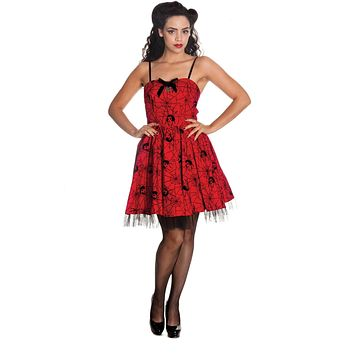 Hell Bunny Rockabilly Gothic Spooky Black Widow & Spiderweb Mini Dress