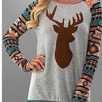 Christmas Deer Geometric T - Shirt B0014156