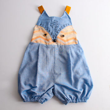 Kid's sewing pattern pdf/Toddler Kid's romper / overalls / All in one with fox face, sizes 2T to 7Years.