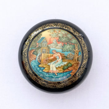 Beautiful Russian Box - The Mermaid fairytale -  Mstera Lacquer Miniature Painting - Papier Mache Jewelry Box - Signed by Artist