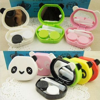 Cute Cartoon Panda Holder Contact Lens Case With Mirror Tweezers Set Portable Contact Lenses Box For Gift Random Color