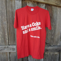 70s/80s Red Coca Cola T-Shirt, L // Have a Coke and a Smile // Coke Adds Life // Vintage T-Shirt