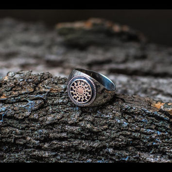 Handcrafted Ring with Black Sun Symbol Sterling Silver Ring Pagan Jewelry