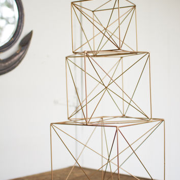 Set of 3 Wire Cube Decor- Antique Gold