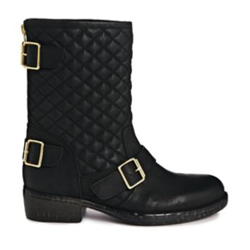 Dune Router Leather Mid Calf Boots - Black leather