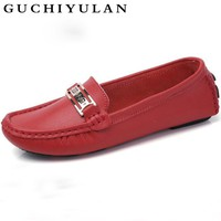 GUCHIYULAN Genuine Leather Women's Flat Casual Loafers Slip On Tendon sole Women Shoes Flats Soft Moccasins Lady Driving Shoes