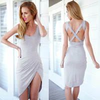 Backless Cross Bandage Dress
