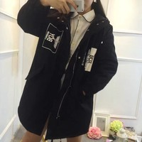 """Boy London"" Women Casual Eagle Letter Print Middle Long Section Long Sleeve Cardigan Hooded Cotton Clothes Coat"
