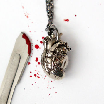 Anatomical Heart Necklace  in Solid White Bronze with Sterling Silver Overlay Moon Raven Designs 154