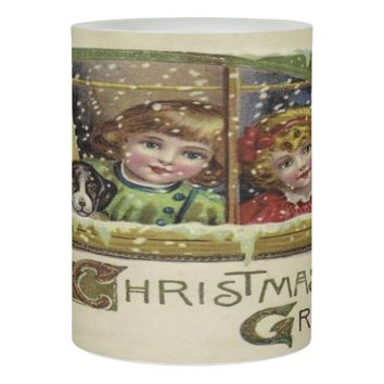 Victorian Christmas Children Waiting for Santa Flameless Candle