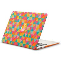 "Kuzy - AIR 13-inch Triangles ORANGE Rubberized Hard Case for MacBook Air 13.3"" (A1466 & A1369) (NEWEST VERSION) Shell Cover - Triangle ORANGE"