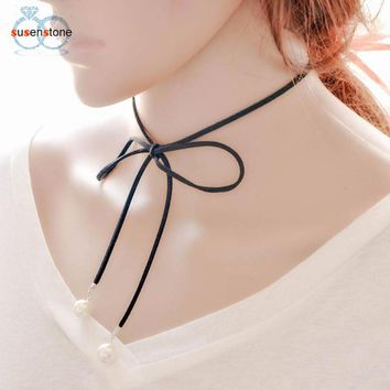SUSENSTONE Women Simple Bow Clavicle Chain Necklace Collar Choker Jewelry