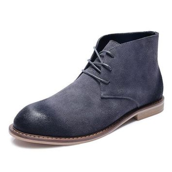 DCK7YE Winter Fashion Men Chelsea Boots Cow Suede Ankle Boots