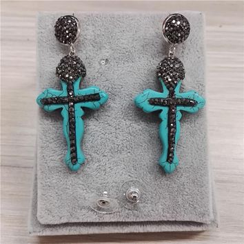 Boho Trendy Vintage Style Natural Beige Blue Pattern Stone Cross Charms Pendant CZ Ball Connectors Long Dangle Earring For Women