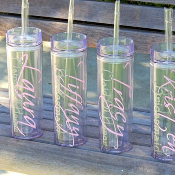 skinny tumbler, wedding party cups, bachelorette party cups, personalized tumbler, stocking stuffer, bridesmaid cups, cup with glitter