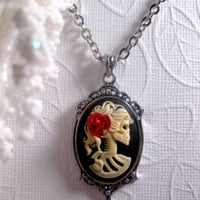 Lolita Madame Skeleton Necklace - Lolita Red Rose - Cameo - Zombie - Corpse - Gothic - Skull