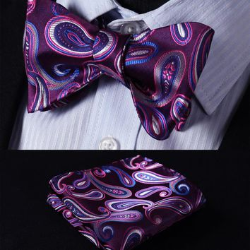 BF432P Purple Blue Paisley 100%Silk Jacquard Woven Men Butterfly Self Bow Tie BowTie Pocket Square Handkerchief Hanky Suit Set