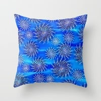 Abstract Spinning Stars Mixed Blue Pattern Throw Pillow by Peter Reiss