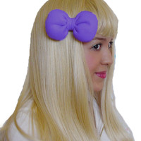 Mini Minnie Mouse Poofy Hair Bow Clip in Purple