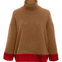 Cashmere Silk Blend Contrast Band Sweater