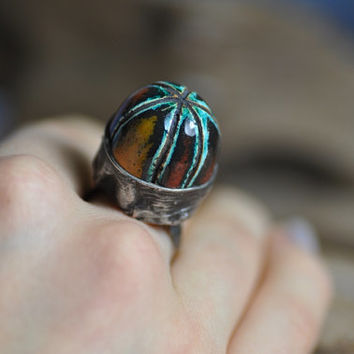 Adjustable ceramic ring / handmade ring / valentines  day gift /boho ring / great gift for her / ready to ship / zolanna