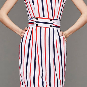 Multi Color Sleeveless Vertical Stripe Tie-Waist Dress in White