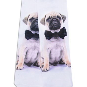 White 3D Bow-tied Pug Print Ankle Socks