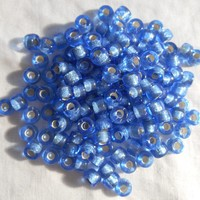 Fifty 6mm Czech Sapphire Blue Silver Lined glass pony roller beads, large hole crow beads, C7450
