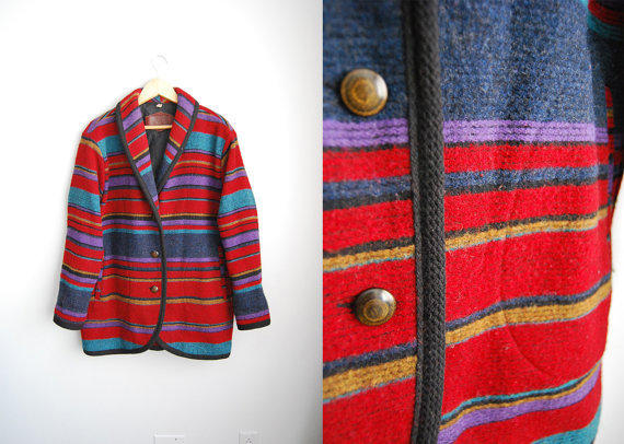 The Woolrich - Vintage NAvajo Indian Blanket Wool Stripped oversized Winter Coat jacket