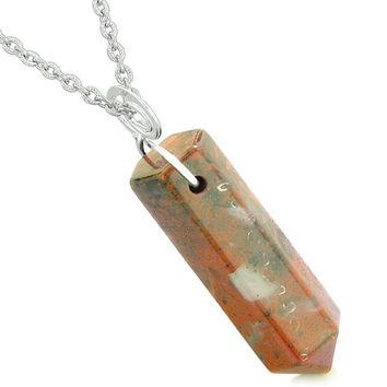 Amulet Lucky Crystal Point Spiritual Protection Powers Wand Dragon Blood Jasper Pendant 22 inch Necklace