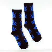 Men Casual Long Socks/Blue Weed