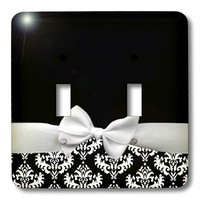 3dRose LLC lsp_56659_2 Elegant and Classy White Ribbon Bow with White Damask Pattern and Classic Black Background, Double Toggle Switch