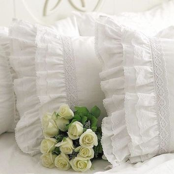 New luxury heavy craft handmade pillow cover embroidered lace flounces Satin cotton pillowcases wedding bedding pillow