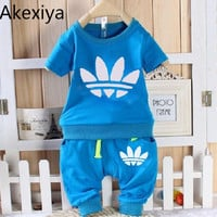 Akexiya Baby Boys/Girls Toddler Clothing Tracksuits Short Sleeve T-Shirt+Short Pants Clothes Kids Outfits Children Sets