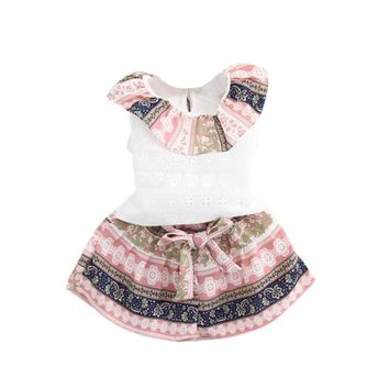 Kids Baby Girls Summer Outfit Clothes T-shirt Tops+Shorts Pants Set Lotus Leaf collar vest shorts  two piece set pink blue