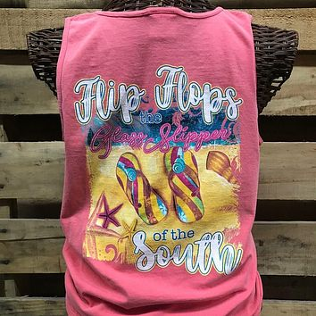 Southern Chics Flip Flops Glass Slipper of the South Comfort Colors Bright Tank Top Shirt