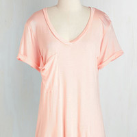 Pastel Long Short Sleeves Awesome Sauce Tee in Peach
