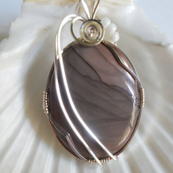 Elegant Picture Jasper Pendant by elainesgems on Etsy