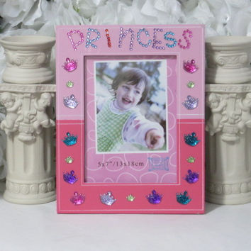Princess Gifts - Birthday Gifts - Princess Party Gifts - Gifts Under 20 - Personalized Girl Gifts - Princess Decor - Pink Frame - 5x7 Frame