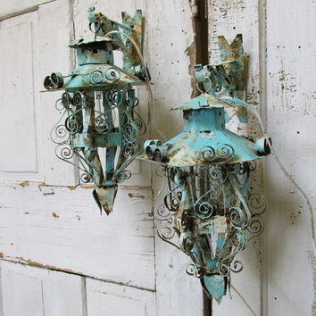 Vintage electric lanterns wall hanging painted rusty lighting shabby cottage chic distressed sconces with original hooks anita spero design